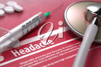 Headache - Printed Diagnosis with Blurred Text on Red Background and Medical Composition - Stethoscope, Pills and Syringe. Medical Concept. 3D Render.