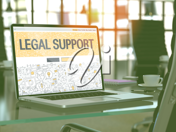 Legal Support Concept Closeup on Landing Page of Laptop Screen in Modern Office Workplace. Toned Image with Selective Focus. 3D Render.