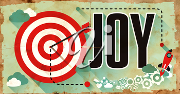 Joy on Grunge Poster with Long Shadows. Fun,Happiness, Enjoyment Concept.