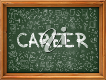 Green Chalkboard with Hand Drawn Career with Doodle Icons Around. Line Style Illustration.