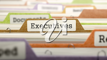 Executives on Business Folder in Multicolor Card Index. Closeup View. Blurred Image. 3D Render.