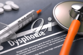 Dysphonia - Printed Diagnosis with Blurred Text on Grey Background and Medical Composition - Stethoscope, Pills and Syringe. Medical Concept. 3D Render.