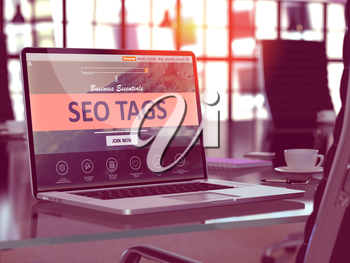 SEO - Search Engine Optimization - Tags Concept. Closeup Landing Page on Laptop Screen  on background of Comfortable Working Place in Modern Office. Blurred, Toned Image. 3D Render.