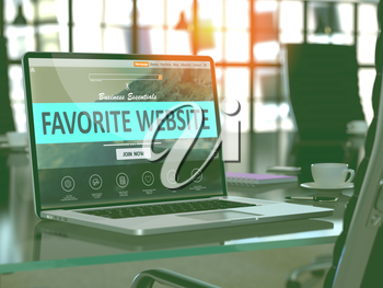 Favorite Website Concept - Closeup on Laptop Screen in Modern Office Workplace. Toned Image with Selective Focus. 3D Render.