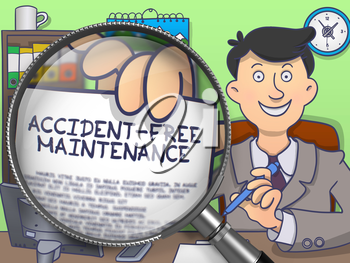 Accident-Free Maintenance on Paper in Businessman's Hand to Illustrate a Business Concept. Closeup View through Magnifier. Multicolor Modern Line Illustration in Doodle Style.