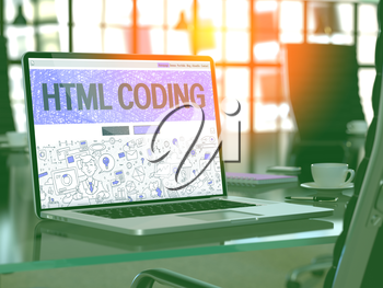 HTML Coding Concept. Closeup Landing Page on Laptop Screen in Doodle Design Style. On Background of Comfortable Working Place in Modern Office. Blurred, Toned Image. 3D Render.