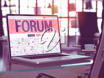 Forum Concept - Closeup on Landing Page of Laptop Screen in Modern Office Workplace. Toned Image with Selective Focus. 3D Render.