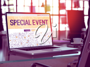 Special Event Concept Closeup on Landing Page of Laptop Screen in Modern Office Workplace. Toned Image with Selective Focus. 3D Render.