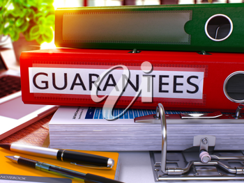 Guarantees - Red Ring Binder on Office Desktop with Office Supplies and Modern Laptop. Guarantees Business Concept on Blurred Background. Guarantees - Toned Illustration. 3D Render.