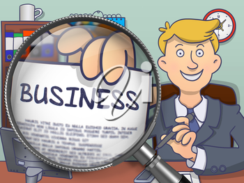 Business on Paper in Businessman's Hand through Magnifier to Illustrate a Business Concept. Multicolor Doodle Illustration.