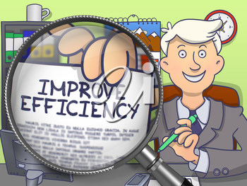 Man in Suit Looking at Camera and Holds Out a Paper with Text Improve Efficiency Concept through Lens. Closeup View. Colored Doodle Style Illustration.