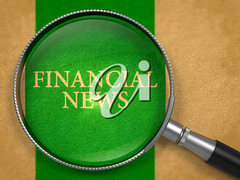 Financial News Concept through Magnifier on Old Paper with Green Vertical Line Background. 3D Render.