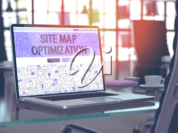 Site Map Optimization Concept Closeup on Landing Page of Laptop Screen in Modern Office Workplace. Toned Image with Selective Focus. 3D Render.