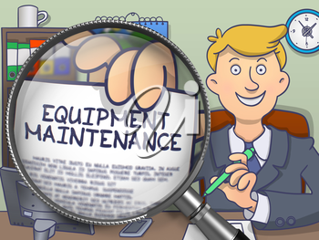Officeman Sitting in Office and Shows Paper with Concept Equipment Maintenance. Closeup View through Lens. Colored Modern Line Illustration in Doodle Style.