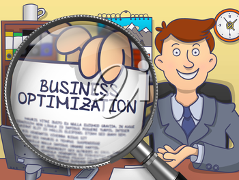 Man in Office Showing Concept on Paper Business Optimization. Closeup View through Lens. Multicolor Doodle Style Illustration.