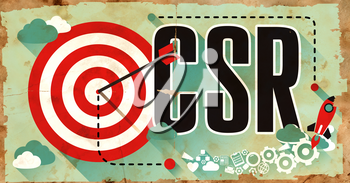 CSR - Corporate Social Responsibility Concept on Old Poster in Flat Design with Red Target, Rocket and Arrow. Business Concept.