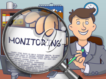 Monitoring. Text on Paper in Businessman's Hand through Magnifying Glass. Colored Doodle Style Illustration.
