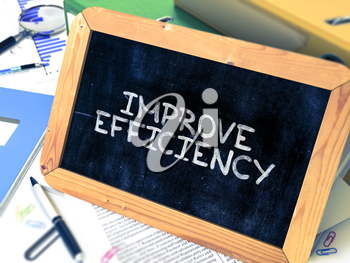 Hand Drawn Improve Efficiency Concept  on Chalkboard. Blurred Background. Toned Image. 3D Render.