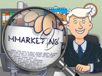 Businessman Holds Out a Text on Paper Mmarketing. Closeup View through Lens. Multicolor Doodle Style Illustration.