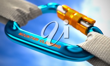 Blue Carabine with White Ropes on Sky Background, Symbolizing the Mountain Climbing. Selective Focus. 3D Render.