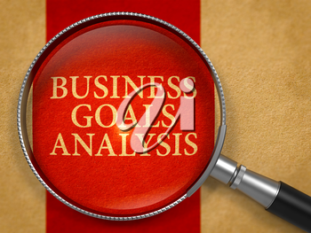 Business Goals Analysis Concept through Magnifier on Old Paper with Crimson Vertical Line Background. 3D Render.