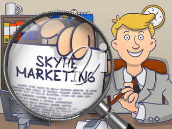 Skype Marketing. Officeman Sitting in Office and Showing a through Lens Paper with Text. Multicolor Modern Line Illustration in Doodle Style.