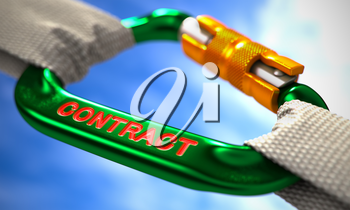 Green Carabine with White Ropes on Sky Background, Symbolizing the Contract. Selective Focus. 3D Render.