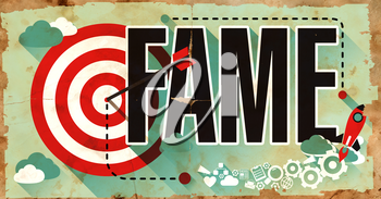 Fame Concept. Poster on Old Paper in Flat Design with Long Shadows.