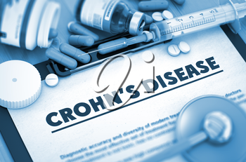 Crohn's Disease - Printed Diagnosis with Blurred Text. Crohn's Disease, Medical Concept with Pills, Injections and Syringe. 3D Render.