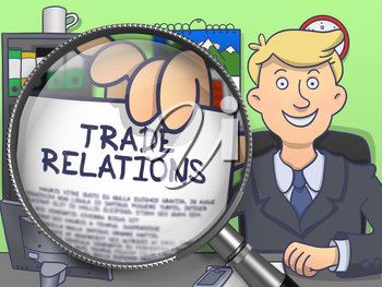 Businessman Shows Paper with Inscription Trade Relations. Closeup View through Magnifier. Colored Doodle Style Illustration.