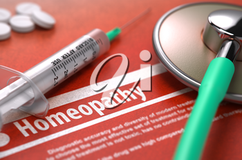 Diagnosis - Homeopathy. Medical Concept on Orange Background with Blurred Text and Composition of Pills, Syringe and Stethoscope. Selective Focus. 3D Render.