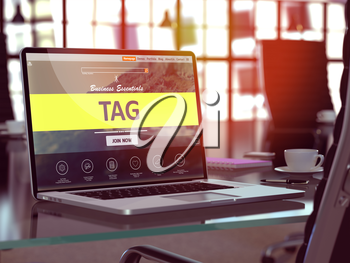 Tag Concept - Closeup on Laptop Screen in Modern Office Workplace. Toned Image with Selective Focus. 3D Render.