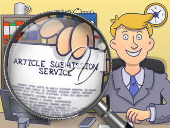 Article Submission Service on Paper in Officeman's Hand through Lens to Illustrate a Business Concept. Colored Doodle Illustration.