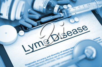 Lyme Disease, Medical Concept with Pills, Injections and Syringe. Lyme Disease - Printed Diagnosis with Blurred Text. Lyme Disease Diagnosis, Medical Concept. Composition of Medicaments. 3D Render.