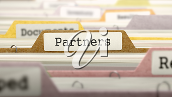 Partners Concept. Colored Document Folders Sorted for Catalog. Closeup View. Selective Focus. 3D Render.