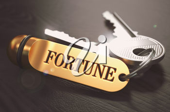 Keys to Fortune - Concept on Golden Keychain over Black Wooden Background. Closeup View, Selective Focus, 3D Render. Toned Image.
