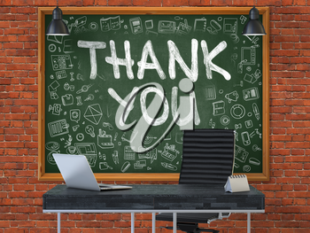 Hand Drawn Thank You on Green Chalkboard. Modern Office Interior. Red Brick Wall Background. Business Concept with Doodle Style Elements. 3D.