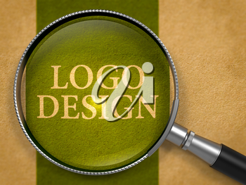 Logo Design through Loupe on Old Paper with Dark Green Vertical Line Background. 3D Render.