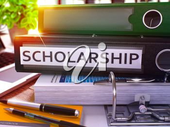 Scholarship - Black Office Folder on Background of Working Table with Stationery and Laptop. Scholarship Business Concept on Blurred Background. Scholarship Toned Image. 3D.