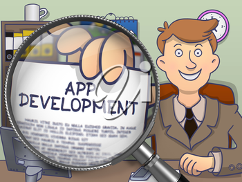 App Development on Paper in Man's Hand to Illustrate a Business Concept. Closeup View through Magnifier. Multicolor Modern Line Illustration in Doodle Style.