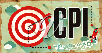 CPI - Consumer Price Index - Drawn on Grunge Poster with Long Shadows. Business Concept.