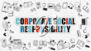 Corporate Social Responsibility Concept. Modern Line Style Illustration. Corporate Social Responsibility Drawn on White Brick Wall.  Doodle Design Style of Corporate Social Responsibility Concept.