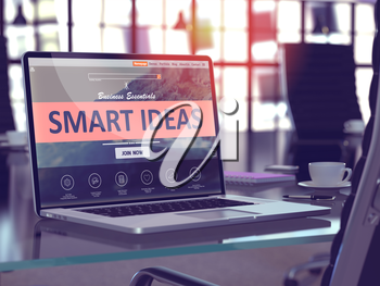 Smart Ideas Concept - Closeup on Laptop Screen in Modern Office Workplace. Toned Image with Selective Focus. 3D Render.