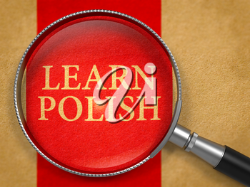 Learn Polish through Magnifying Glass on Old Paper with Red Vertical Line Background. 3D Render.