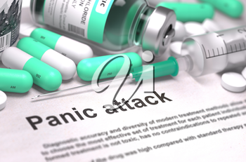 Panic Attack - Printed Diagnosis with Mint Green Pills, Injections and Syringe. Medical Concept with Selective Focus. 3D Render.