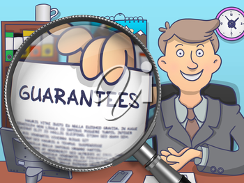 Guarantees. Business Man Holds Out a Concept on Paper through Magnifying Glass. Multicolor Doodle Style Illustration.