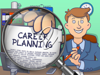 Career Planning on Paper in Officeman's Hand to Illustrate a Personal Development Concept. Closeup View through Magnifier. Multicolor Doodle Style Illustration.