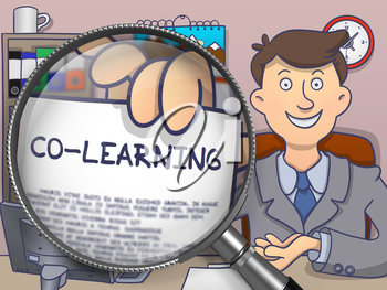 Co-Learning. Successful Businessman in Office Workplace Shows Paper with Education Concept through Magnifier. Multicolor Doodle Illustration.