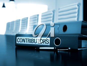 Contributors - Business Concept on Blurred Background. Office Folder with Inscription Contributors on Black Wooden Table. 3D.
