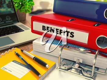 Red Office Folder with Inscription Benefits on Office Desktop with Office Supplies and Modern Laptop. Business Concept on Blurred Background. Toned Image. 3d Render.